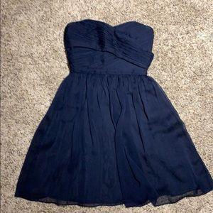 J Crew Navy Strapless Chiffon Party Dress Size 2